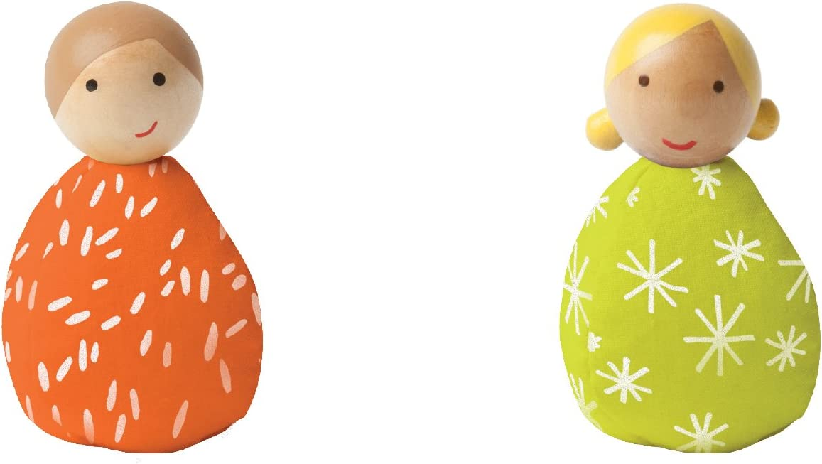 MiO Wooden Bean Bag People Peg Doll Toys - Orange & Green Imaginative Play Characters by Manhattan Toy