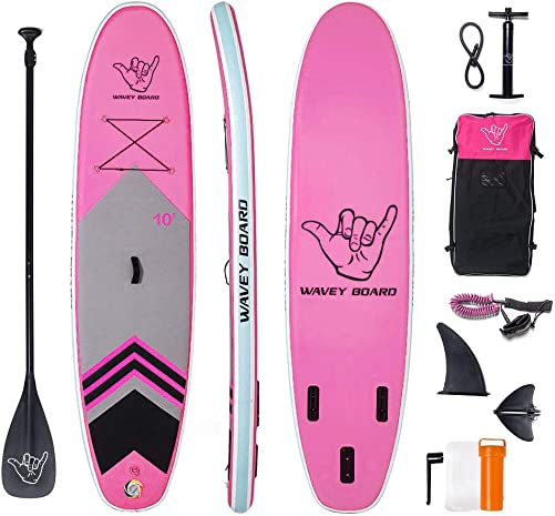 WAVEY BOARD Inflatable Stand Up Paddle Board 6 Thick SUP Board PVC