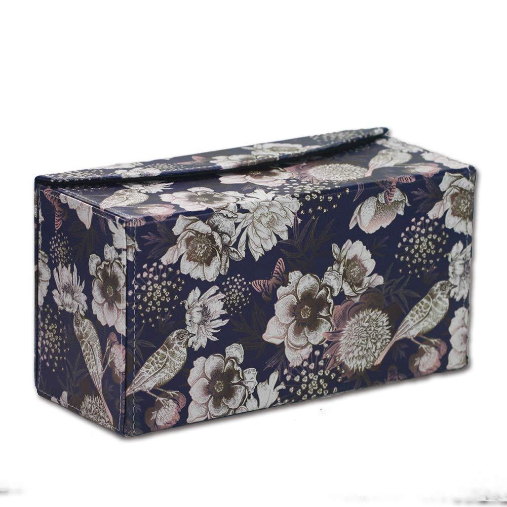 lizimandu PU Leather Tissue Box Cover,Decorative Holder Case for Home Office Vintage Black Bird Bathroom,Bedroom,Car Automotive Decoration