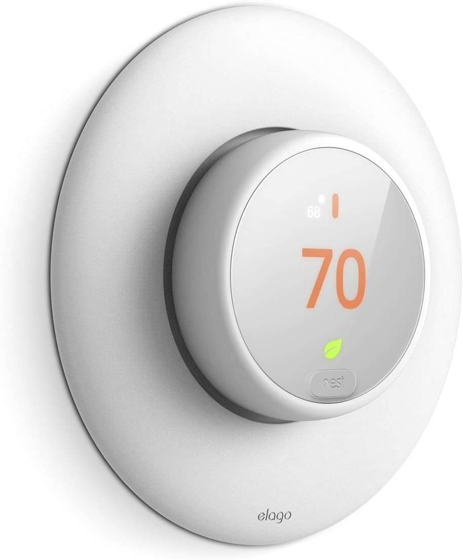 elago Wall Plate Cover Designed for Google Nest thermostat E Wall Plate (White) - Compatible with Nest Thermostat E, Hard ABS Material [US Patent Registered]