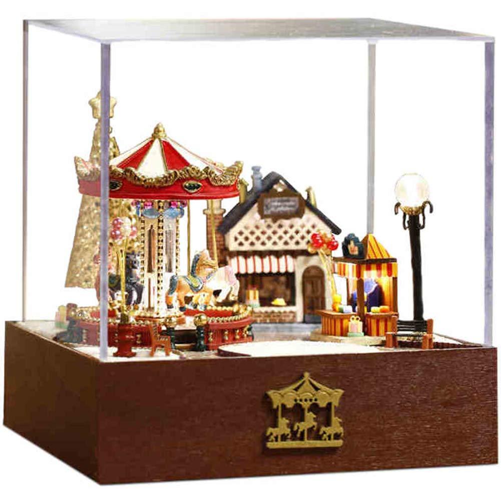 Casa Delle Miniatura Legno Per Ragazzi E Ragazze Per Il Gioco In Miniatura Modello Di Piccola Casa Assemblata A Mano All'ingrosso Di Legno Del Giardino Felice Del Cavallo Regalo rossoante Creativo