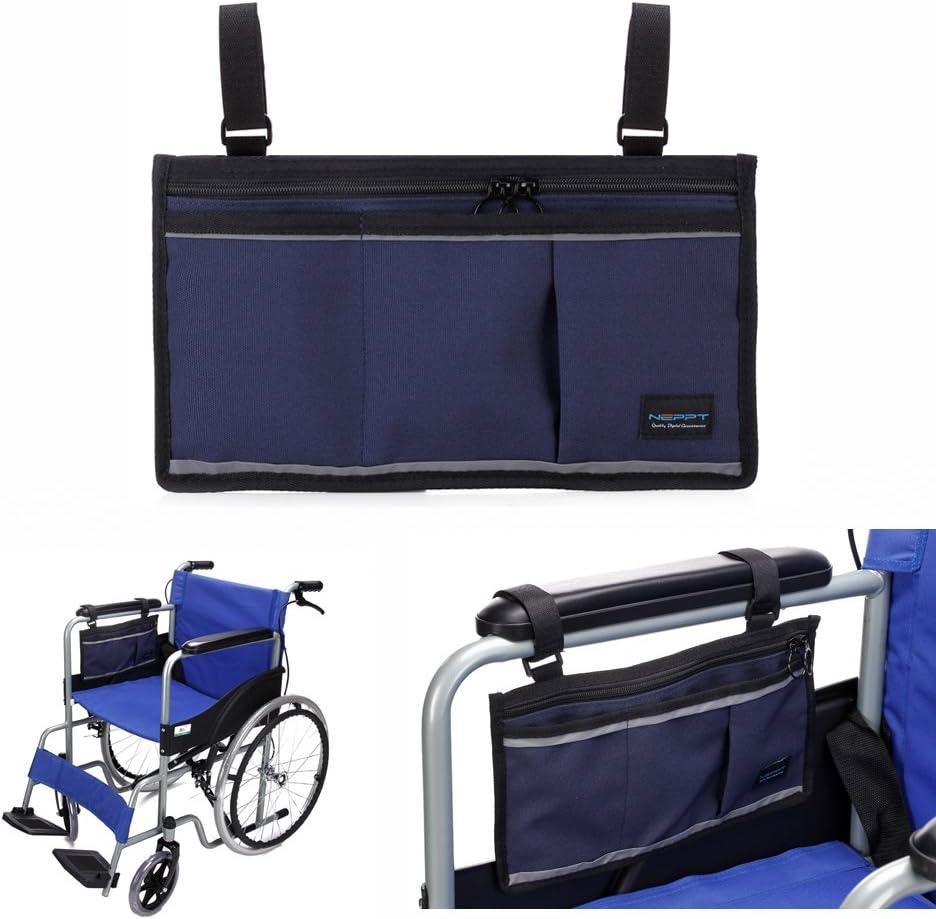 sillas de ruedas Bolsas andadores Silla Bolsillo Scooter eléctrico Bolsa transporte Bolso reposabrazos Organizador lateral Cubierta almacenamiento malla para Barandilla de la cama moto (Azul oscuro)