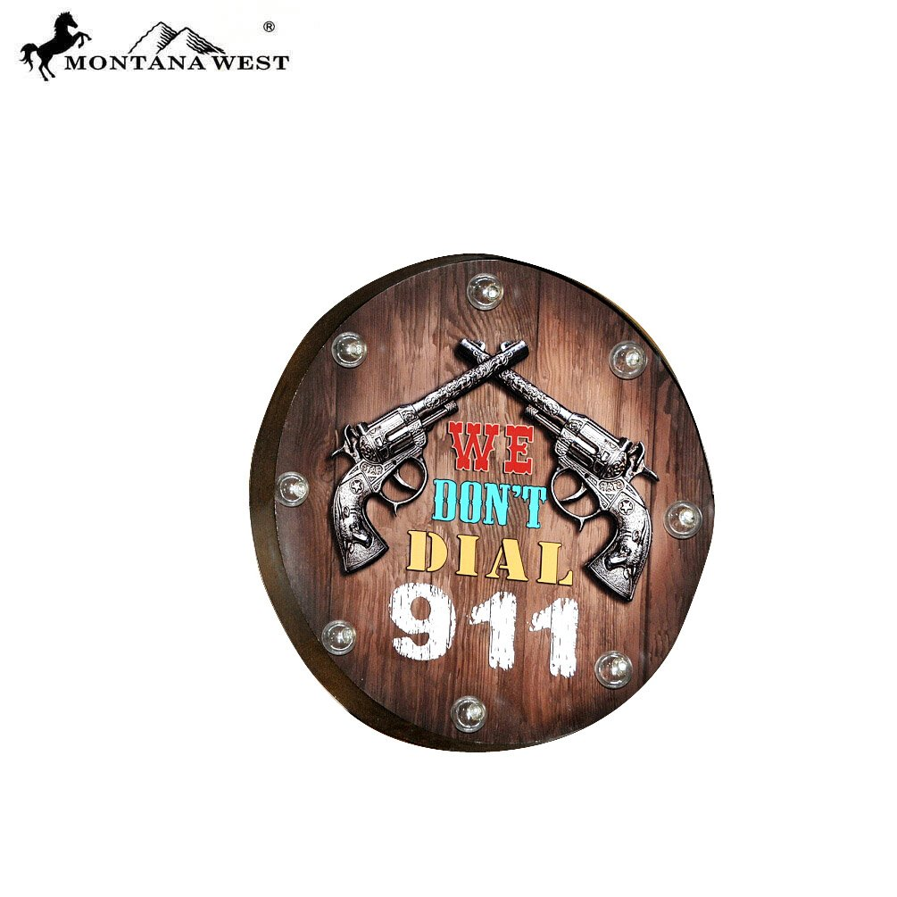RSM-2028 Metal Double Pistol Revolver 911 Wood Plaque With LED Light