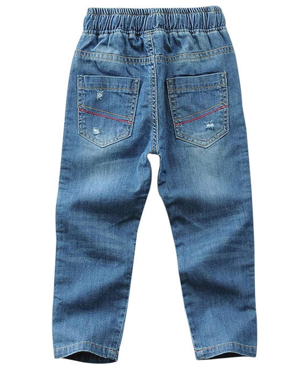 Maxhugoo Springtime Boys Jeans Denim Elastic Waist Washed Husky Pants