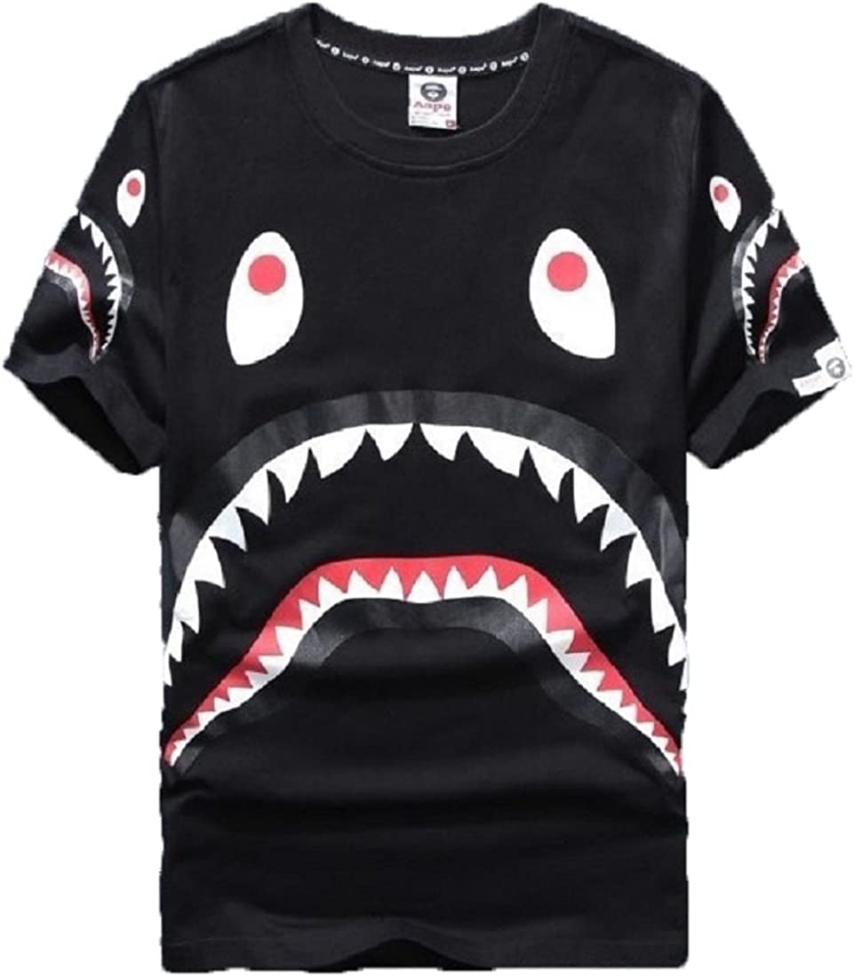 Big Mouth Shark Ape Bape Camo Casual T Shirt Tees Unisex with Round Neck Short Sleeve t-2black XXL
