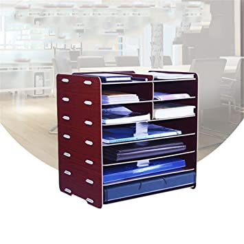 Bricolaje de madera Escritorio Archivador Caja de almacenamiento de papel de tamaño A4 Manager 7 Capas Archivo Carpeta Revista titular titular,rojo: ...
