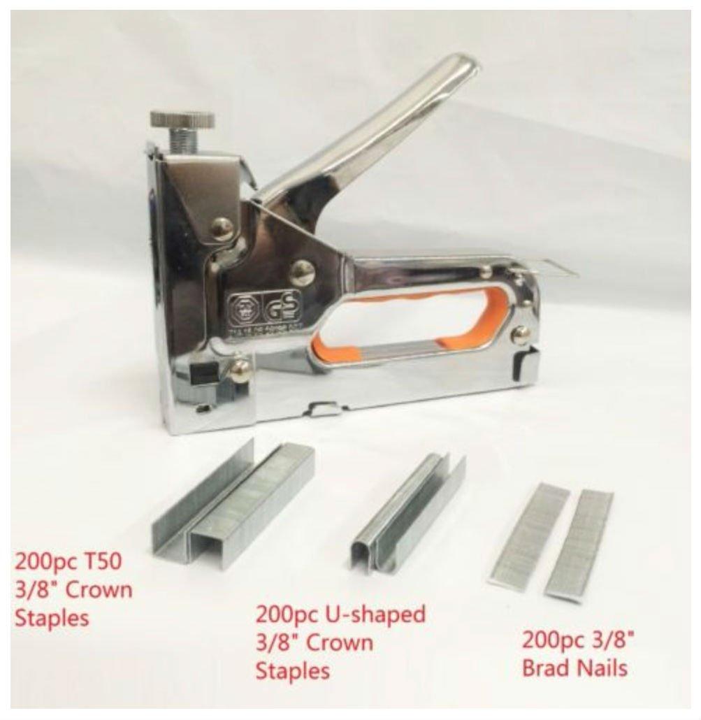 Powerful 3 Way Tacker Staple Gun Stapler Kit w/600 Staples & Brad Nails