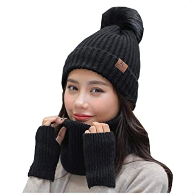 85a55dac540bf 3 PCS Women Lady Fashion Winter Warm Set Knitted Hat Gloves Scarf for Cold  Weather (