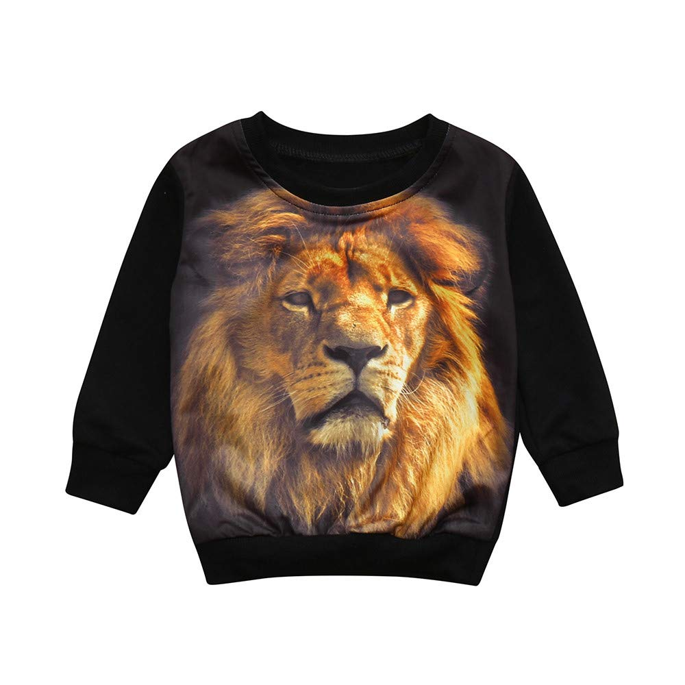 Zerototens Kids Black Sweatshirt, 0-5 Years Old Toddler Baby Boys Long Sleeve 3D Tiger Print O Neck Pullover Tops Spring Autumn Casual Outfits Clothes Children Tracksuit