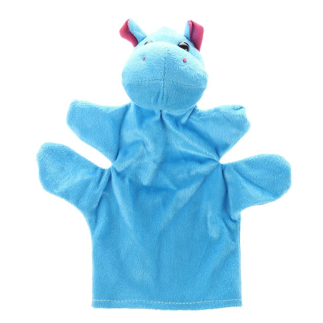 SODIAL(R) zoo Animal main chaussette gant Marionnettes a doigt Jouet en Peluche Hippopotame 040713A3