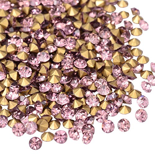 ARRICRAFT 1 Bag 720pcs Back Plated Grade A Diamond Glass Pointed Rhinestone Light Amethyst for DIY Jewelry
