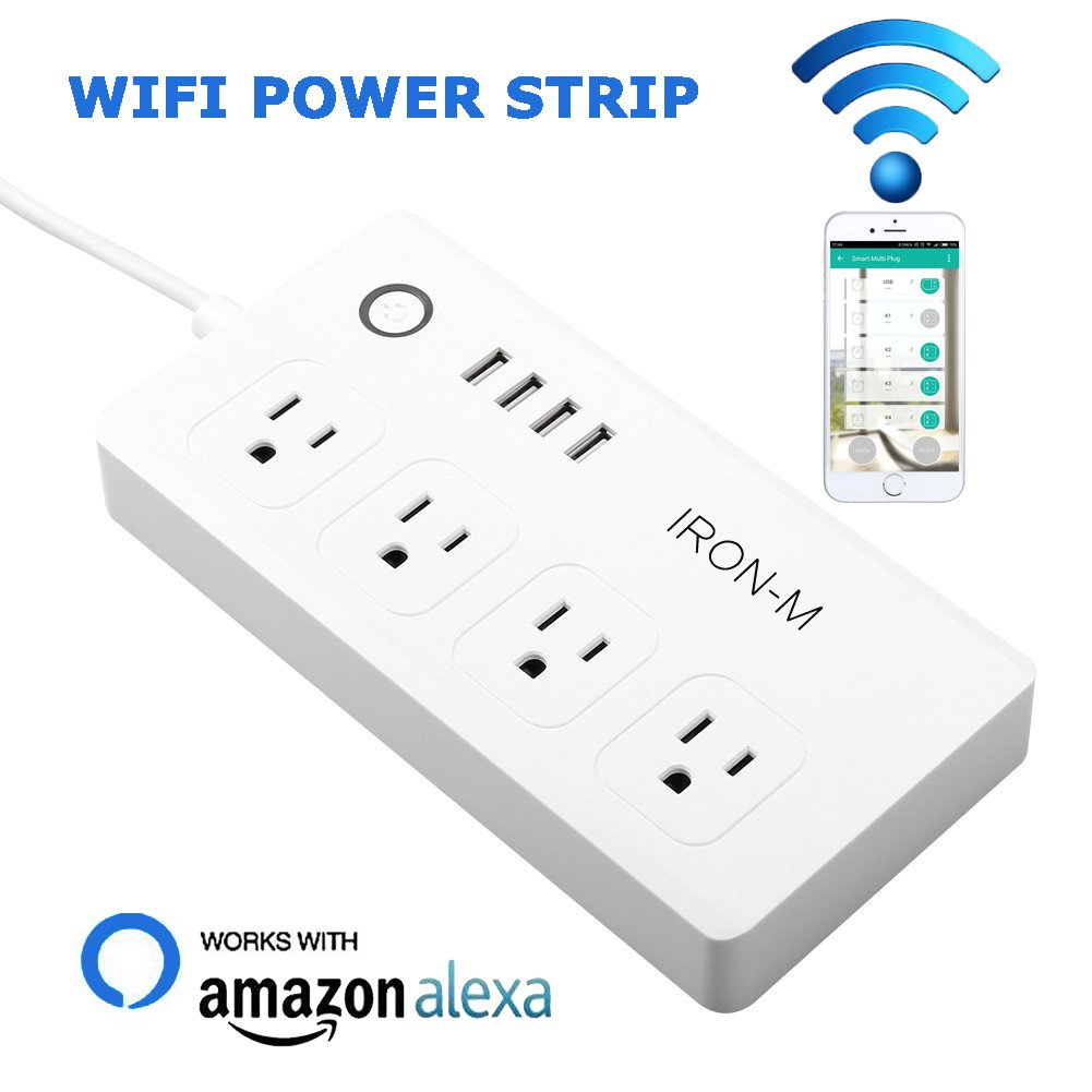 Iron-m WiFi Smart Power Strip Surge Protector, 4-Outlet 4-USB with 5-Foot Cord, Remote Control via Smart Phone, Work with Alexa and Google Home Mini