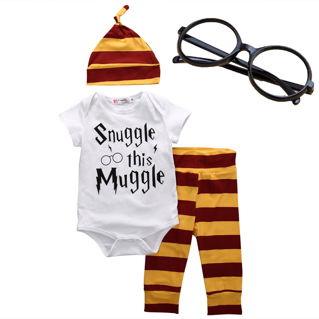 BABYcutest Baby Boys Girls Snuggle This Muggle Rompers Bodysuit and Striped Pants Hat 4Pcs Outfit with Glasses (White, 70/(0-6 Months))