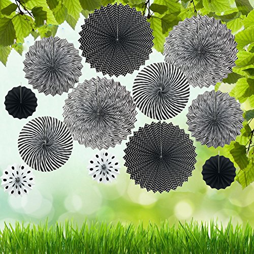 Fecedy Black Paper Fan Garland hanging for Party Decoration 12pcs/pack