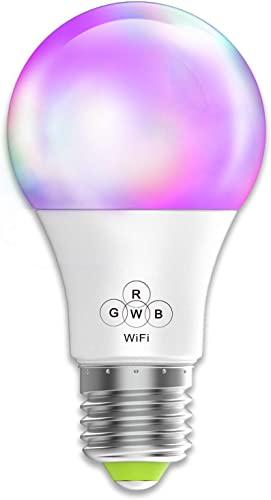 Smart WiFi Light Bulb No Hub Required, Magic Hue A19 E26 40w Equivalent Multicolored Dimmable LED Bulb, Compatible with Alexa Google Home Siri IFTTT