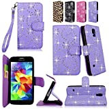Cellularvilla Wallet Case for Samsung Galaxy S5 Purple Glitter Pu Leather Wallet Card Flip Open Pocket Case Cover Pouch