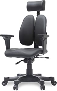 [Duorest Gold Leather Ergonomic Office Chair with Twin Backrests] - Duorest System for Proper Posture l ergonomic office chair lumbar support l home office chair ergonomic desk chair (Black Synthetic Leather)