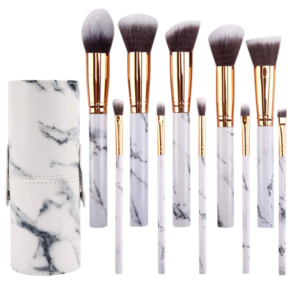 SEPROFE Makeup Brushes Set 10Pcs Marble Makeup Brushes Best for Travel Make Up Powder Foundation Eyebrow Eyeliner Blush Cosmetic Blending Brush with Free Cosmetic Bag and Sponge