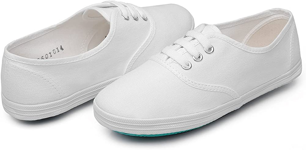 Maxu White Lace Up Sneakers Canvas Unisex Shoes Little Kid//Big Kid