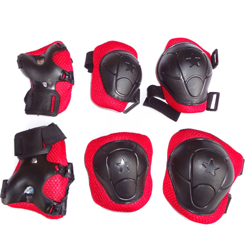 Cooplay 6pcs Durable Kid Roller Bicycle Skateboard Kating Knee Elbow Wrist Protective Support Pads Set Protective Gear for Toddlers(black/red)
