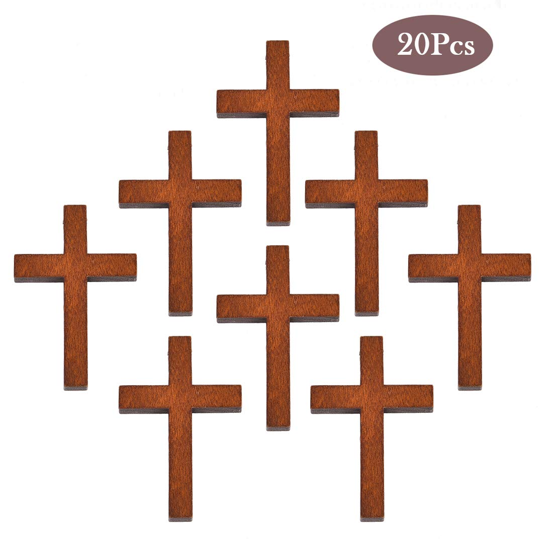 Colgante de cruz de madera de OBSEDE para bricolaje manualidades 10 piezas collares 43,7 x 29,4 mm joyas color marr/ón