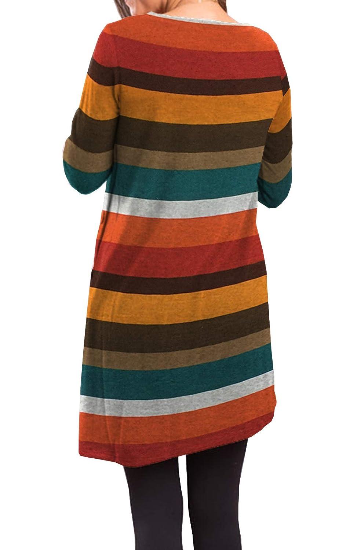 a23e29b2a00 iGENJUN Women's Long Sleeve Scoop Neck Button Side Tunic Dress