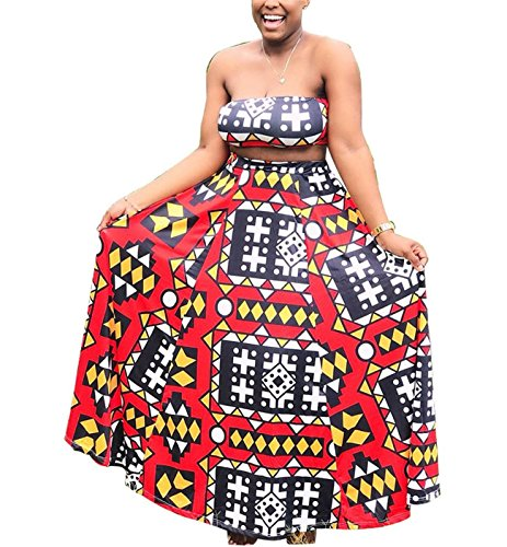 Women's Girls Two Pieces Outfits Africa Ethnic Printed Wrapped Crop Tank Top Shirt + Swing Skirt Set Party Club Boho Dress S by Fashion Cluster