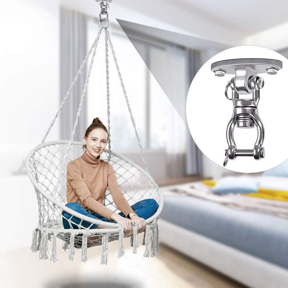 Dolibest 2PCS Heavy Duty Swing Hanger Permanent Antirust Openable Stainless Steel Swing Hanger Yoga Hammock Chair Swing Sets 360/° 4 Screws for Wooden