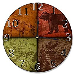 Stupell Home Décor Rustic Wildlife Patchwork Decorative Vanity Wall Clock, 12 x 0.4 x 12, Proudly Made in USA