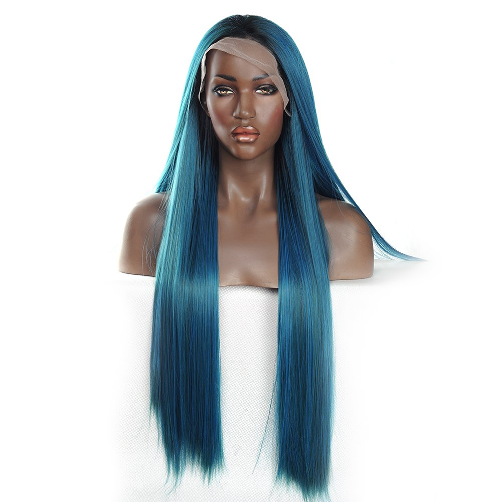 V'Nice Mixed Blue and Green Synthetic Lace Front Wig Silky Straight Lace Front Synthetic Wigs for Black Women Heat Resistant Synthetic Wigs (20 inches)