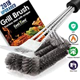 BBQ Grill Brush and Scraper 18'' Wire Bristles Grill Cleaning Brush 3 in 1 Barbecue Cleaner with Triple Scrubber,Perfect for Weber Gas/Charcoal Grill Grates