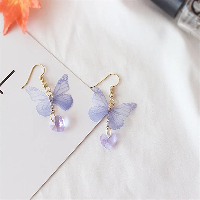 Personality Violet Butterfly Heart Gem Earrings Pendant Fairy Yarn Butterfly Long Earrings