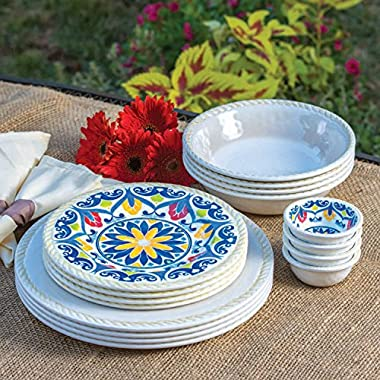 16 Piece Indoor/Outdoor Melamine Dinnerware Set IVORY