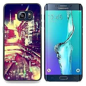 """For Samsung Galaxy S6 Edge Plus / S6 Edge+ G928 Case , Noche luces de la ciudad de Blur Edificios vida en la calle"""" - Diseño Patrón Teléfono Caso Cubierta Case Bumper Duro Protección Case Cover Funda"""