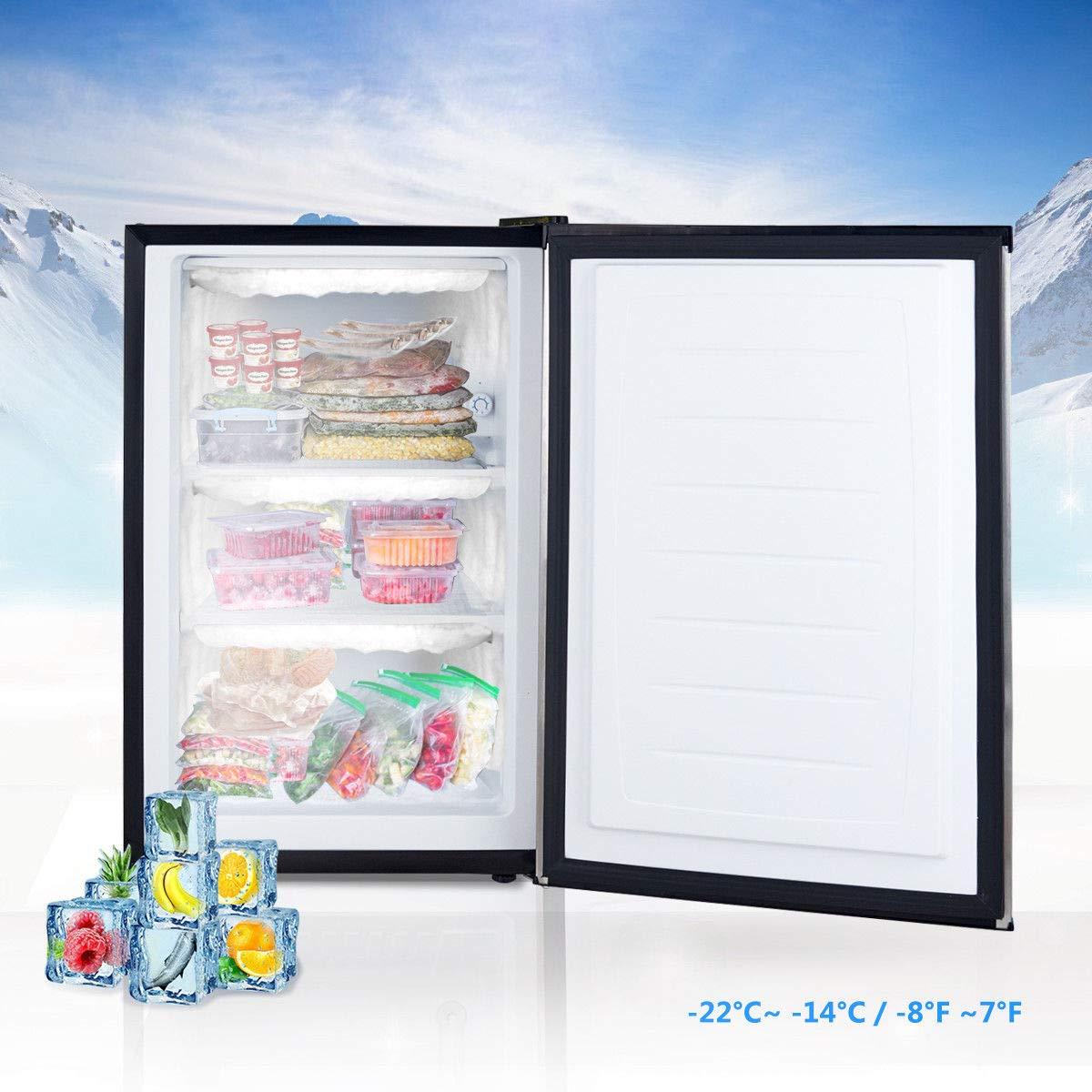 COSTWAY Compact Single Door Upright Freezer - Mini Size with Stainless Steel Door - 3.0 CU FT Capacity - Adjustable by COSTWAY (Image #5)