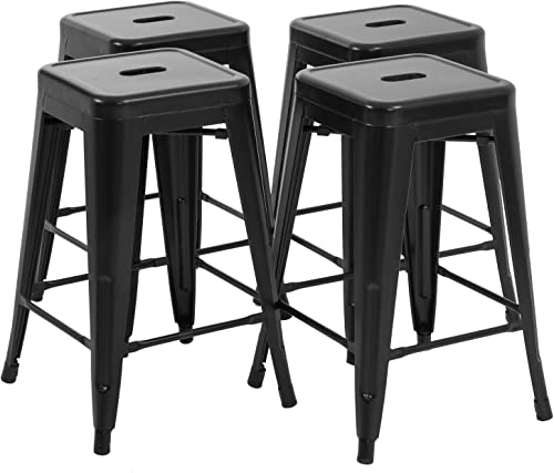 Set of 4 Metal Bar Stools 24 Inches Counter Barstools Indoor/Outdoor Stackable Modern Metal Bar Stools Kitchen Counter Stools Chairs Review
