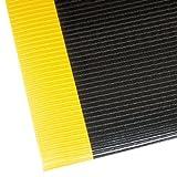 NoTrax 406 Razorback Anti-Fatige Mat with Dyna-Shield PVC Sponge, 3' Width x 4' Length x 1/2'' Thickness, Black/Yellow