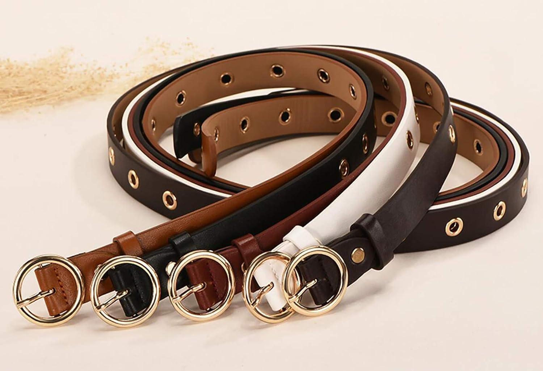 Irypulse Donna Cintura Rivetto Fibbia Lega in pelle Rotonda in Metallo Fibbia Cinghie Moda Occhielli Decorazione Funzionale PU Cinture Adatto per