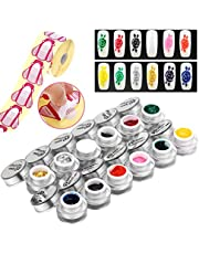 ZJchao 12 Colors Salon 3D Relief Paint Drawing Pigment Nail Art Multichrome Uv Gel Polish Sets + 500Pcs/Roll Diy Curve Gel Tips Extension Guide Sticker