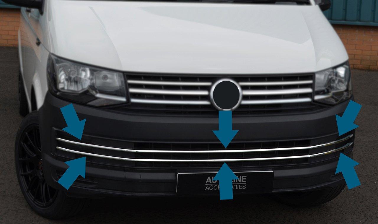 2016/+ 6pi/èce Chrome Bumper Grille Accents de Trim pour sadapter au T6/Transporter