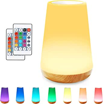 Bedside Table Lamp, TAIPOW Dimmable LED Night Light for Baby Kids Room Bedroom Outdoor, Portable Eye Caring Lamp with RGB Color Changing Touch Senor Remote Control Rechargeable Battery Auto-Off Timer