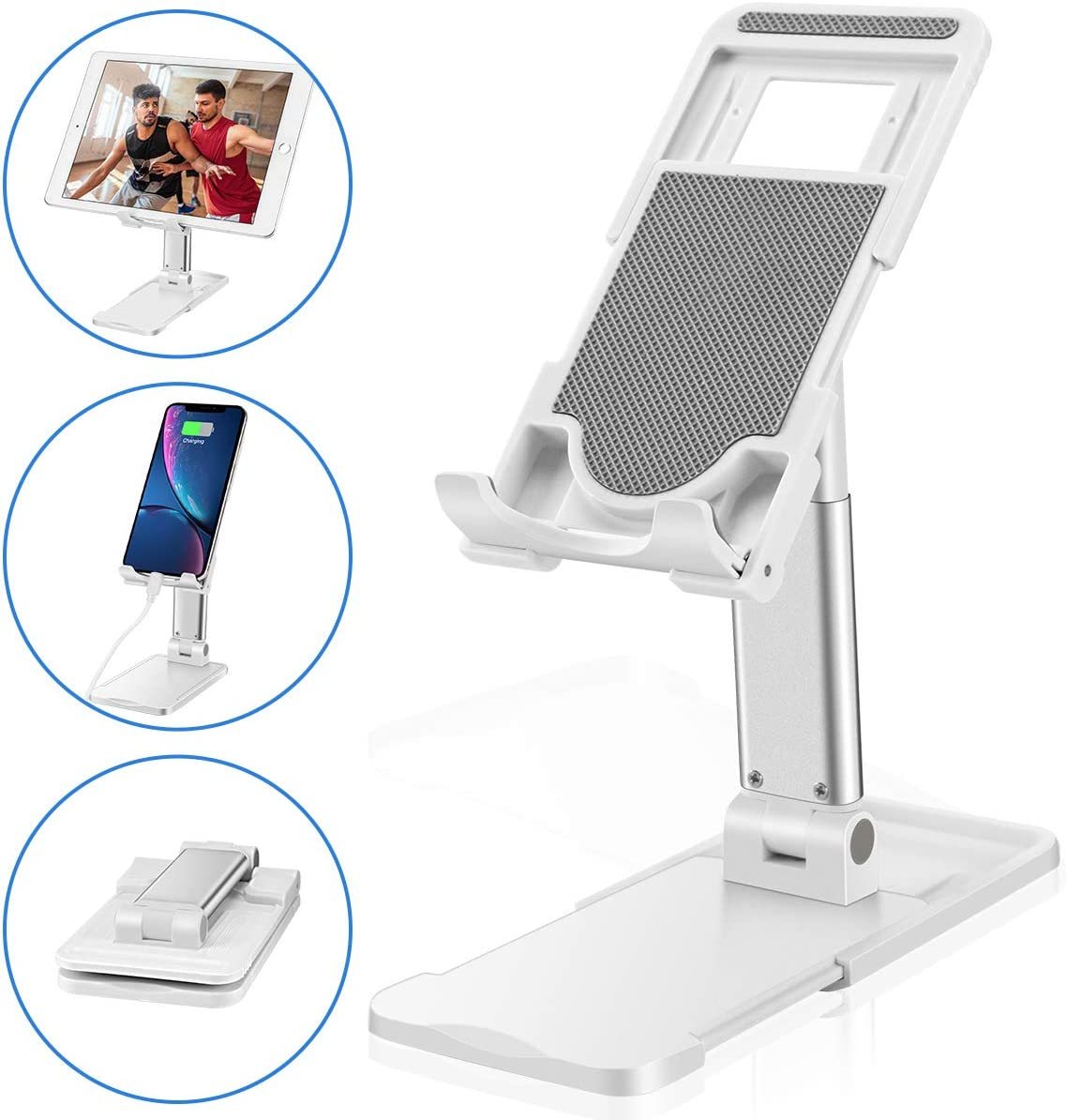 Cell Phone Stand for Desk,Adjustable Desktop Phone Holder Cradle/Desk Tablet Stand,Phone Dock;Cradle Compatible with iPhone11 8 7 Pro Xs XR Galaxy Samsung S10 S9 S8 Mobile Phone/iPad-2020 Newly