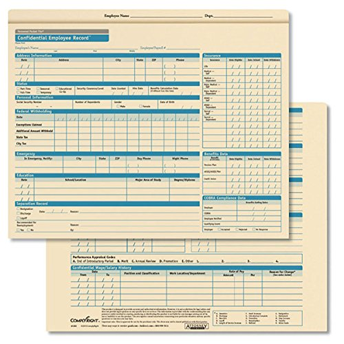 ComplyRight Confidential Personnel Pocket File Standard (A1202)