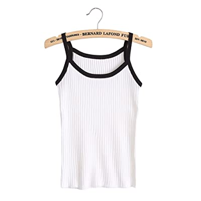 Doober Women Bodycon Sling Knitted Camisole Sleeveless U-neck Vest Slim Tank Tops