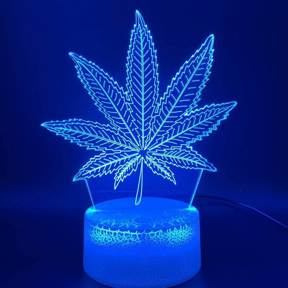 3D LED Symphony Night Light Botánica Marihuana Cannabis Office Bar Decoración para el hogar Luz nocturna USB o luces de noche con batería Regalo de Navidad festivo