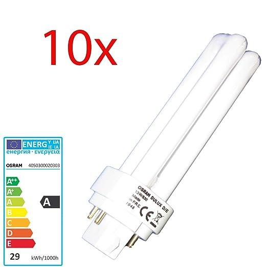 10 x Osram Dulux DE 26 W/840 DE bajo consumo 4 pin - lámpara DE luz blanca fría - G24q-3 D/E