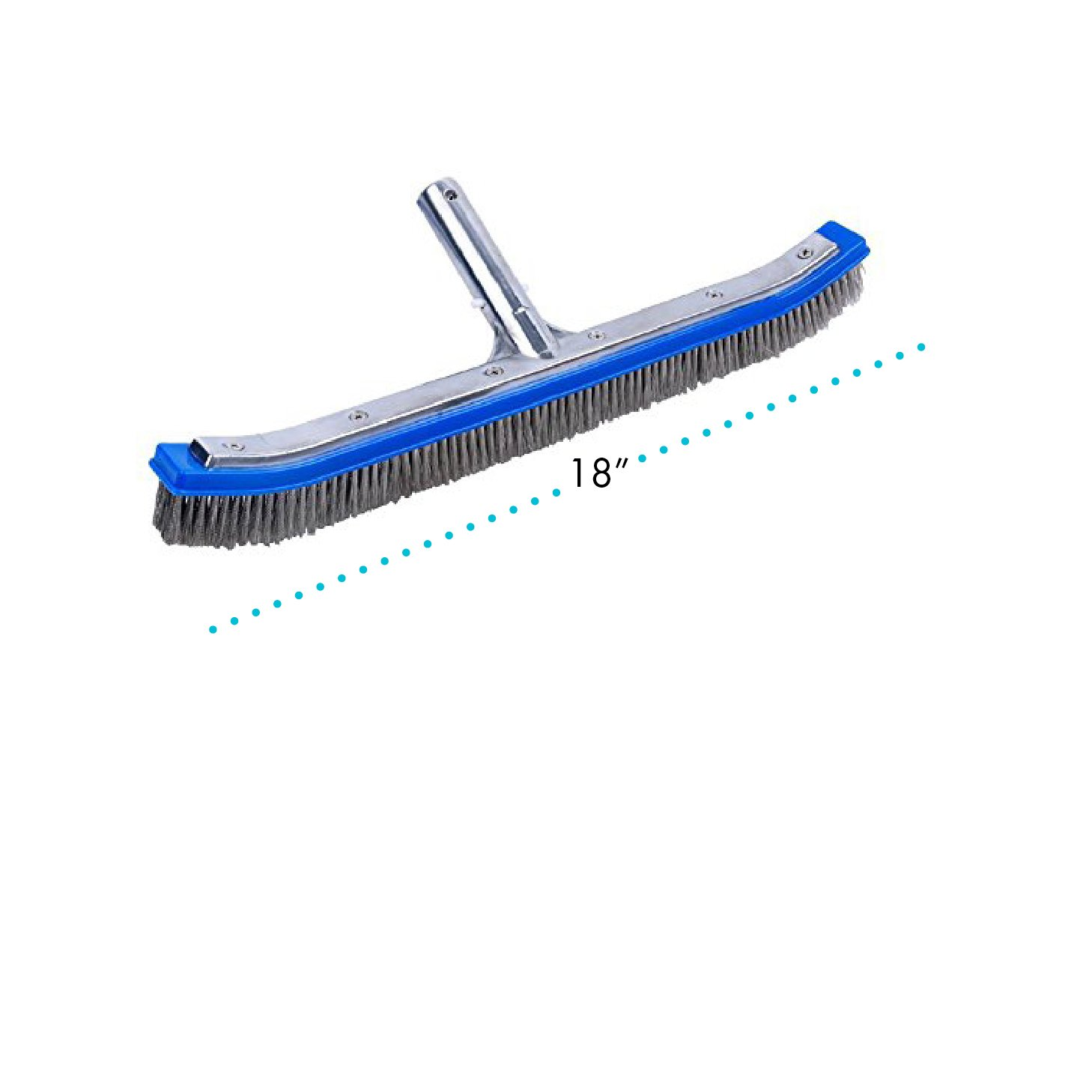 Milliard Pool Brush, 18'' Extra-Wide, Heavy Duty Wire, Algae Cleaner Brush Designed for Concrete and Gunite Pools for Extremely Tough Stain Removal