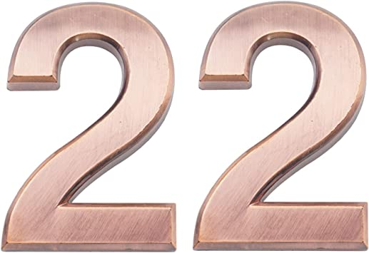 2 Pieces 2.75 Inch Self Adhesive House Numbers Double 1 Door Address Number for Mailbox//Home//Hotel//Office//Condo//Apartment Antique Brass