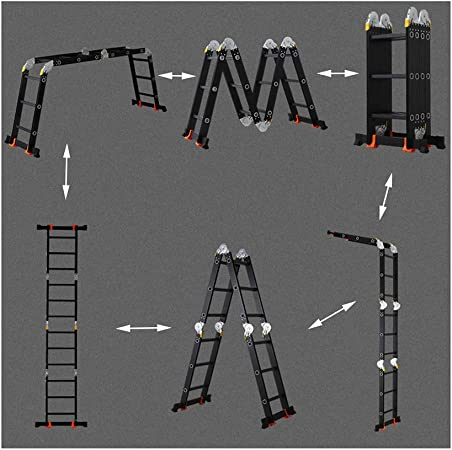 XSJZ Escalera Plegable Negra, Escalera Plegable Multifuncional de La Aleación de Aluminio Escalera Telescópica Portátil Escalera Recta Escaleras Convenientes para La Ingeniería Escalera Del Hogar Esca: Amazon.es: Hogar