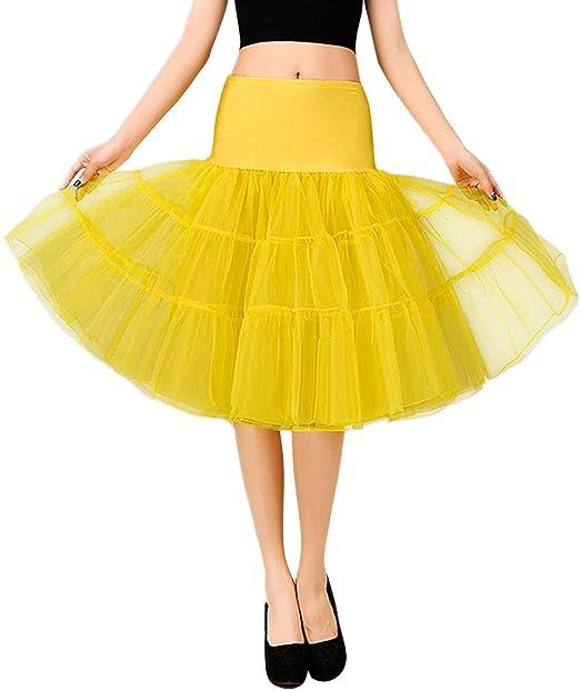 Feoya Mujer Cancan Tutú Tul Retro 50s Vintage Falda para Danza Baile Underskirt